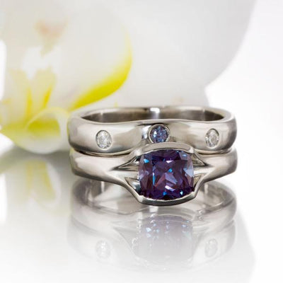 Moissanite and Chatham Alexandrite Fitted Contoured Wedding Ring Shadow Band