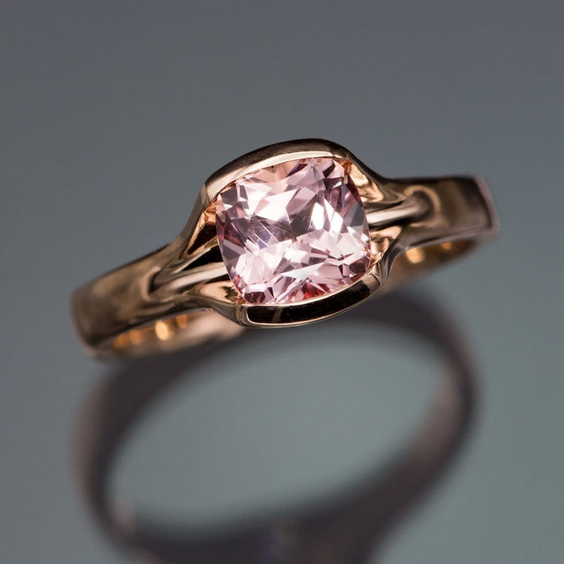 Cushion Cut Chatham Champagne Pink Sapphire Fold Solitaire Engagement Ring - by Nodeform