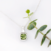 Cushion Cut Green Tourmaline Drop Pendant Sterling Silver Necklace, Ready to Ship