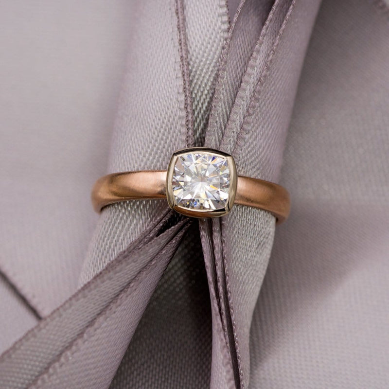 Cushion Moissanite Bezel Set Mixed Metal Solitaire Engagement Ring