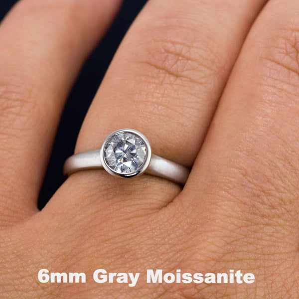 Round Gray Moissanite Peekaboo Bezel Solitaire Engagement Ring - by Nodeform