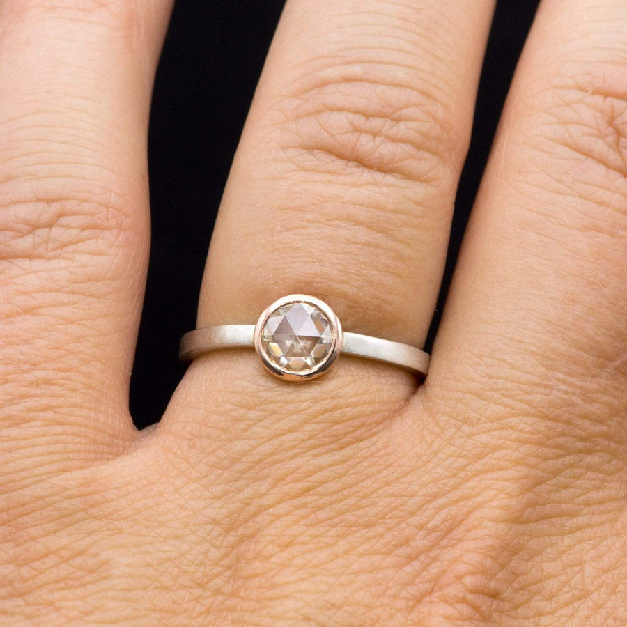 Mixed Metal Bezel Set Rose Cut Moissanite Solitaire Engagement Stacking Ring
