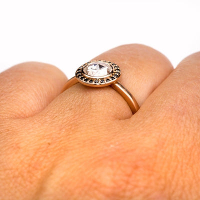 Rose Cut Moissanite & Black Diamond Halo Rose Gold Engagement Ring, size 4 to 9