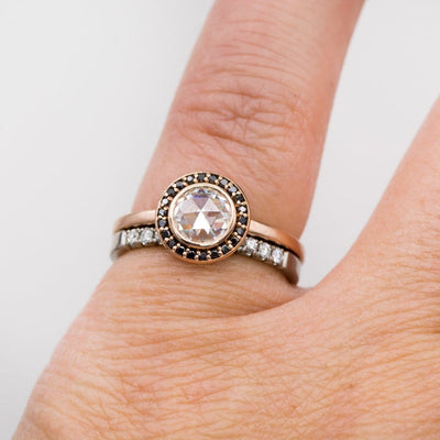Bezel Set Rose Cut Moissanite Diamond Halo Engagement Ring