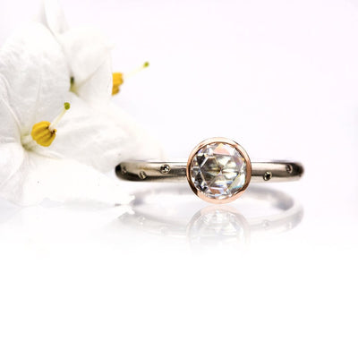 Mixed Metal Rose Cut Moissanite Rose Gold Bezel Diamond Accented White Gold Engagement Ring, Ready to size 4 to 9