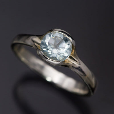Round Aquamarine Half Bezel Fold Solitaire Ring in Sterling Silver, Ready to Ship