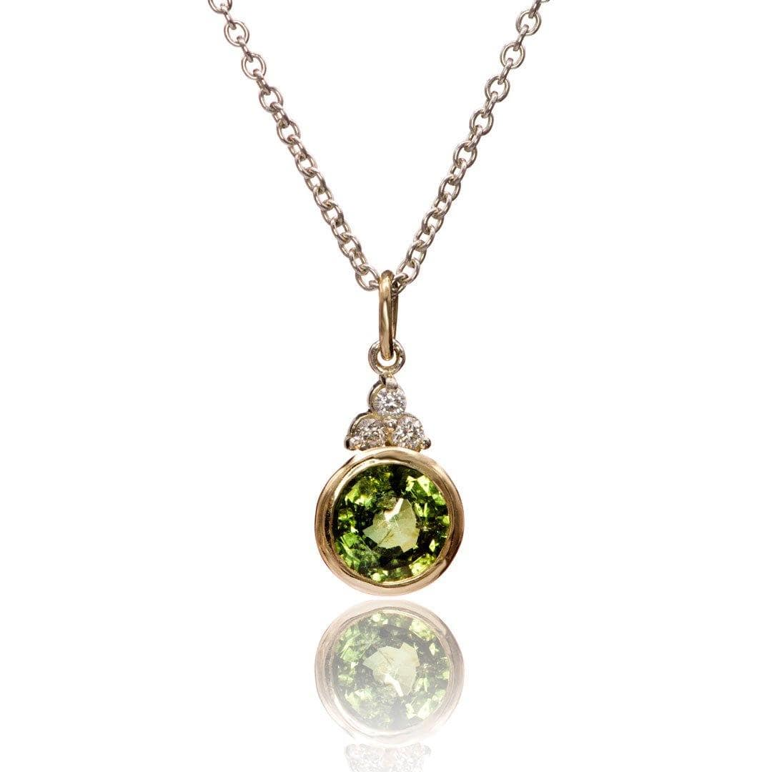Green Sapphire & Moissanite 14k Yellow Gold & Sterling Silver Pendant Necklace