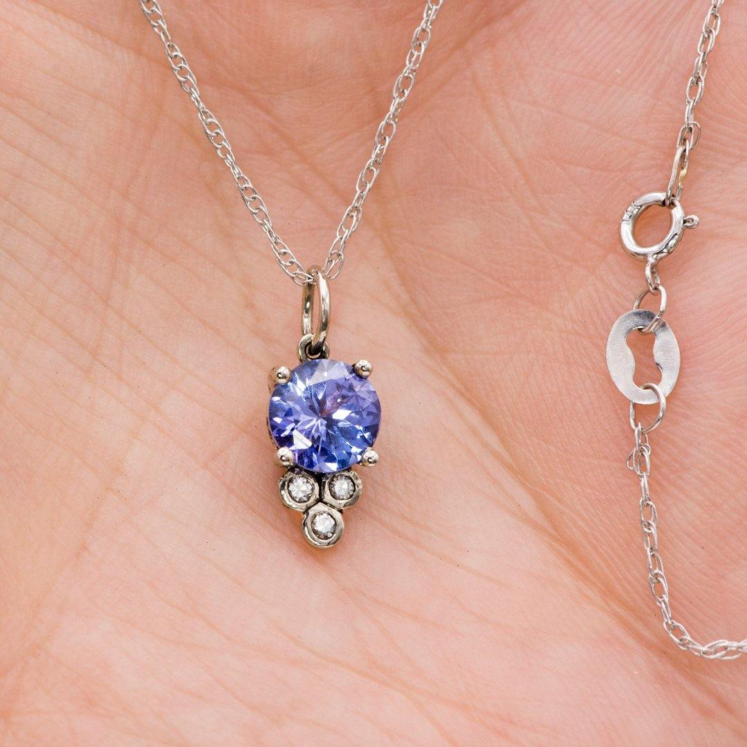 Accented Round Tanzanite & Moissanite 14k White Gold Pendant Necklace, Ready to Ship - Nodeform