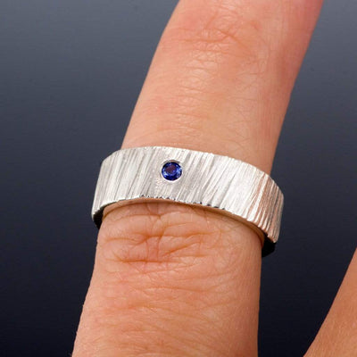 Saw Cut Texture Wedding Bands Ring Set With Flush Set Blue Sapphires