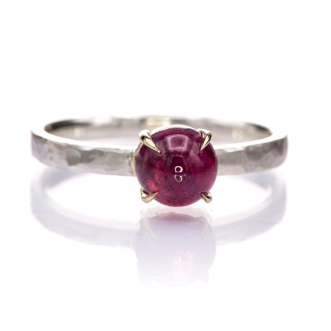 Pink Tourmaline Stacking Ring with 14k gold prongs and hammered sterling silver, size 4 to 9 - Nodeform