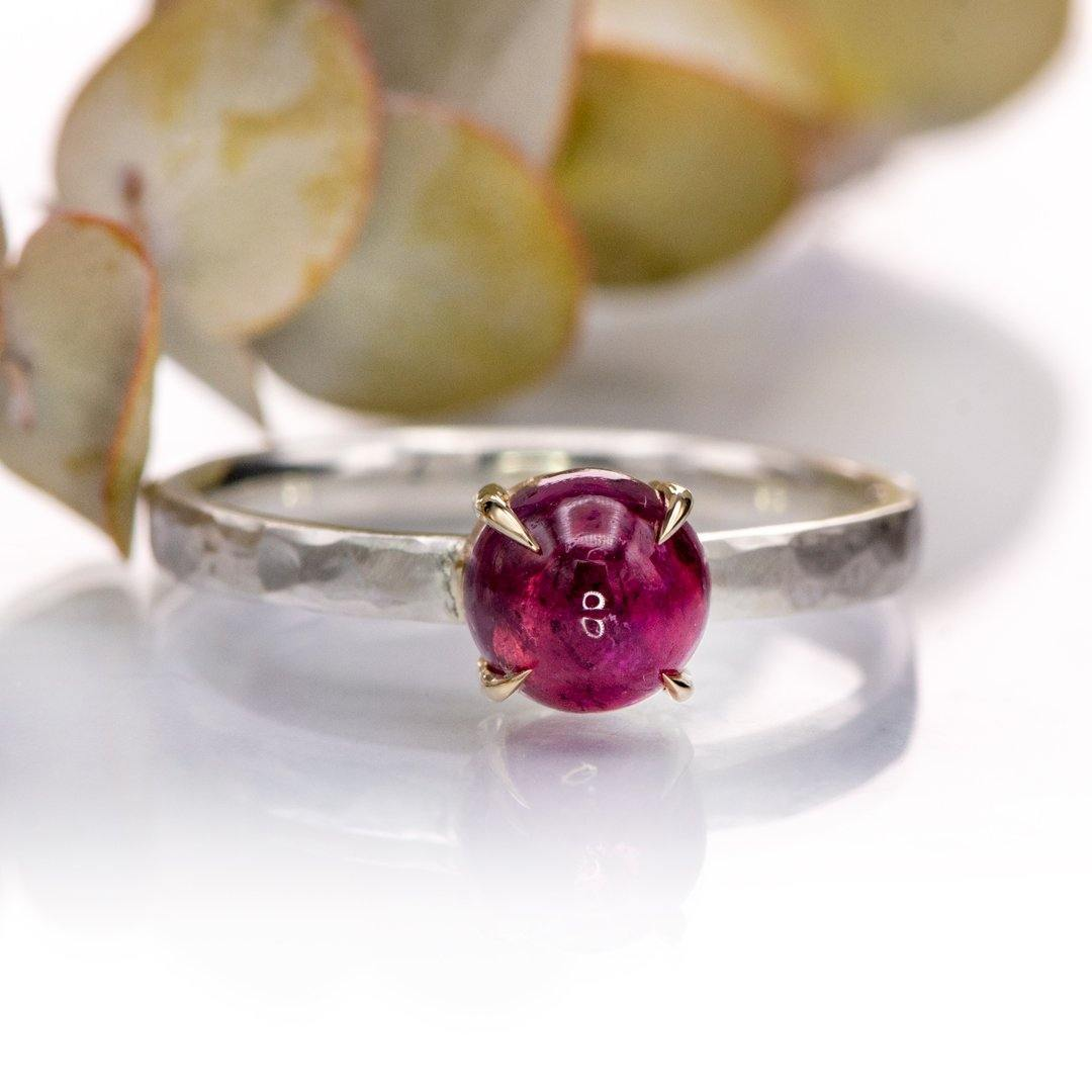 Pink Tourmaline Stacking Ring with 14k gold prongs and hammered sterling silver, size 4 to 9