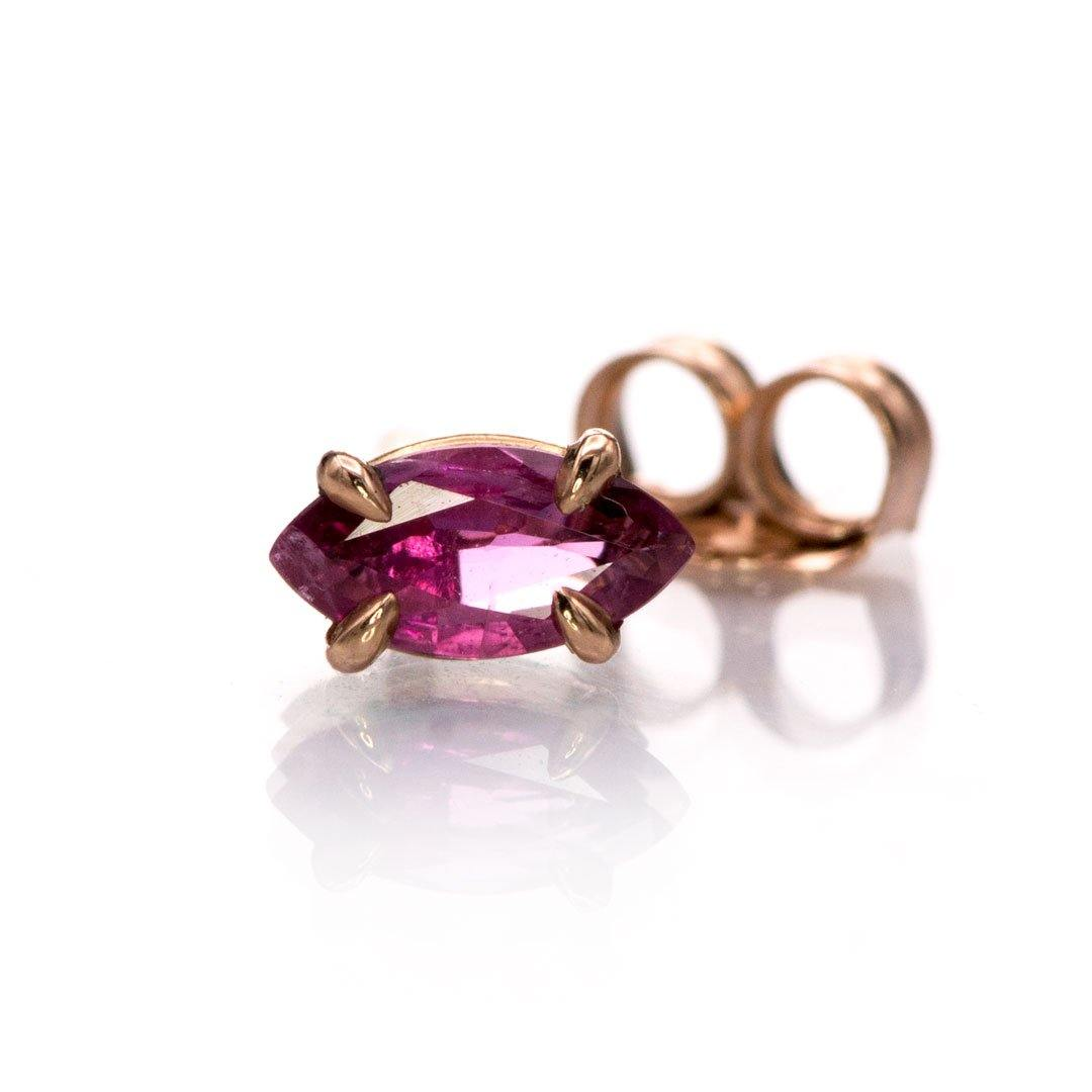 Single Stud Marquise Pink Sapphire 14k Gold Prong Set Basket Earring