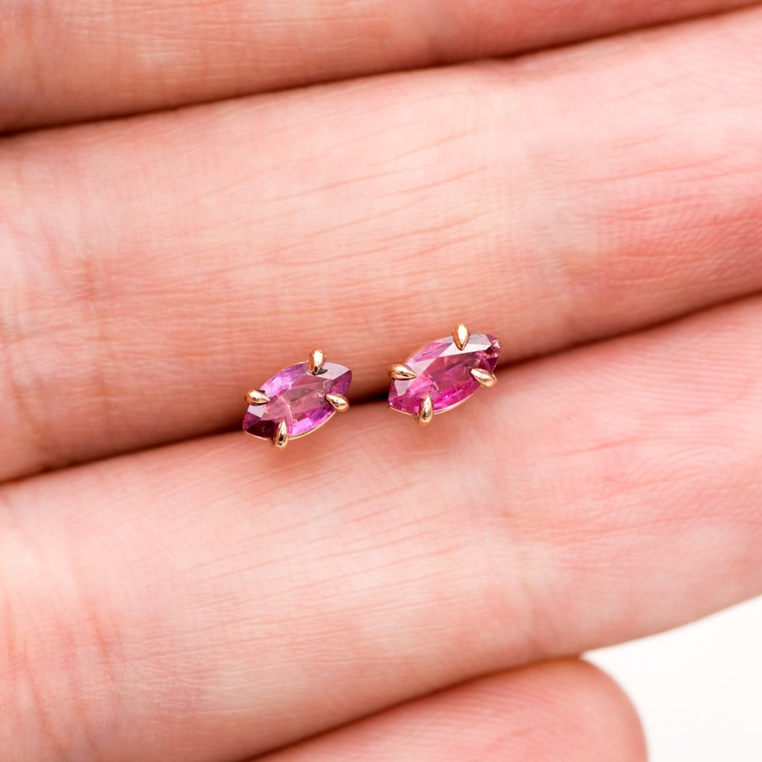 Marquise Pink Sapphire 14k Rose Gold Prong Set Basket Stud Earrings, Ready to Ship