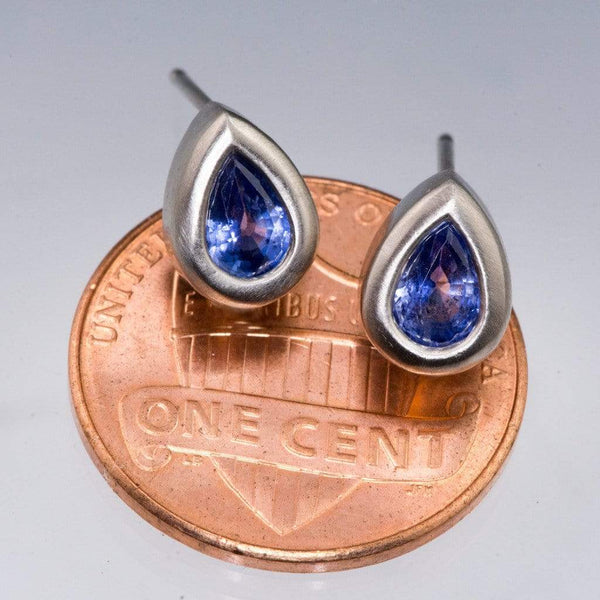 Pear Blue Sapphire Tear Drop Bezel Stud Earrings in Palladium, Ready to Ship
