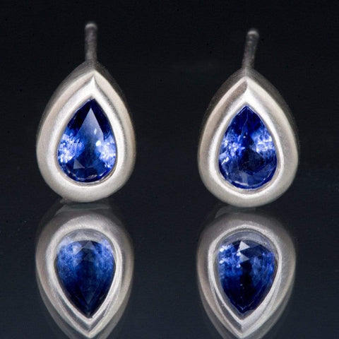 Pear Blue Sapphire Tear Drop Bezel Stud Earrings - by Nodeform