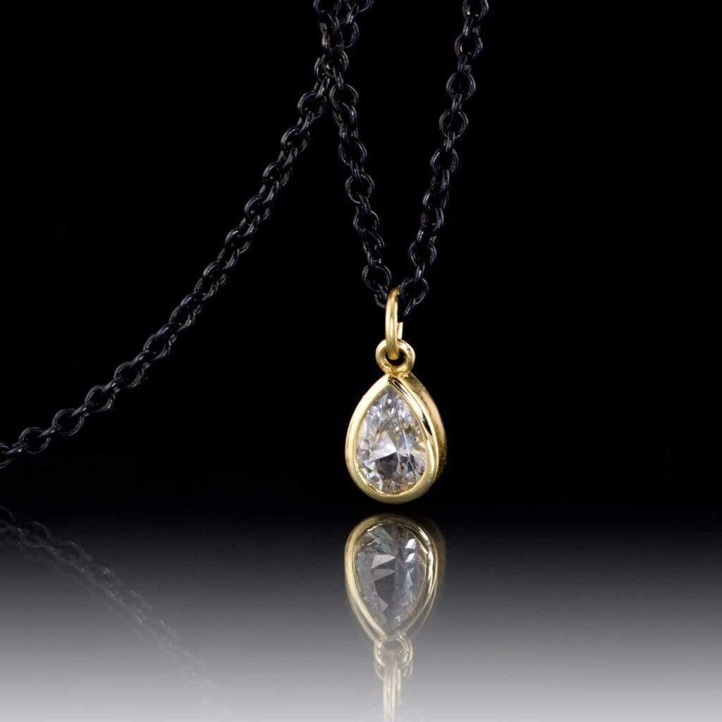 Tear Drop White Sapphire 14k Yellow Gold Pear Pendant With Oxidized Silver Chain Necklace