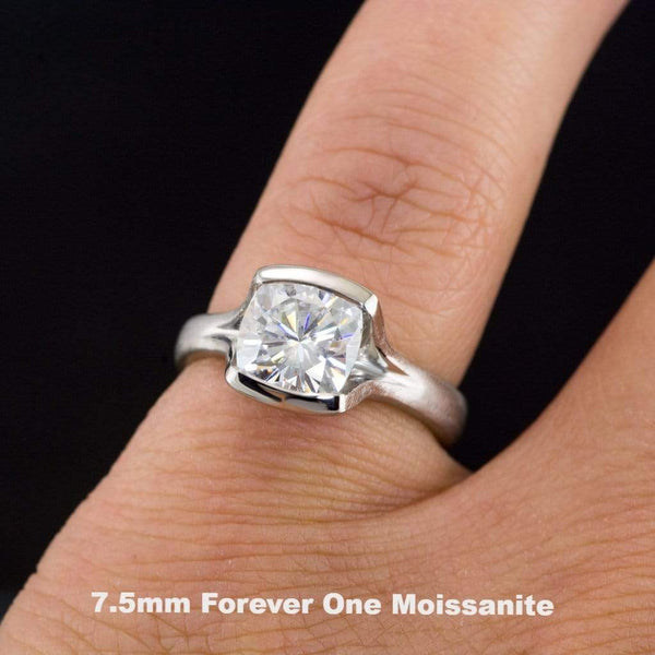 Cushion Cut Moissanite Fold Semi-Bezel Set Solitaire Engagement Ring - by Nodeform