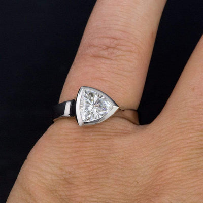 Trillion Moissanite Bezel Solitaire Engagement Ring