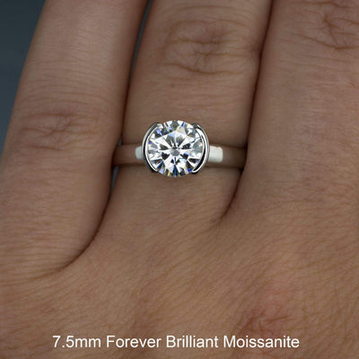 Brilliant Cut Round Moissanite Half Bezel Solitaire Engagement Ring - by Nodeform