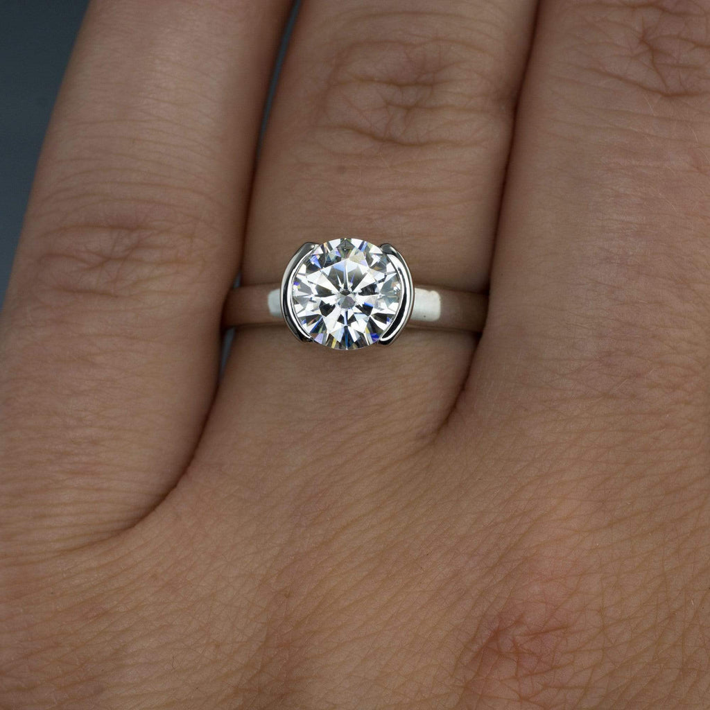 solitaire engagement semi ring bezel wedding rings set