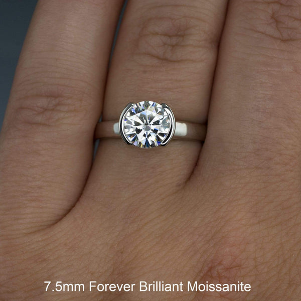 Round Moissanite Half Bezel Solitaire Engagement Ring - by Nodeform