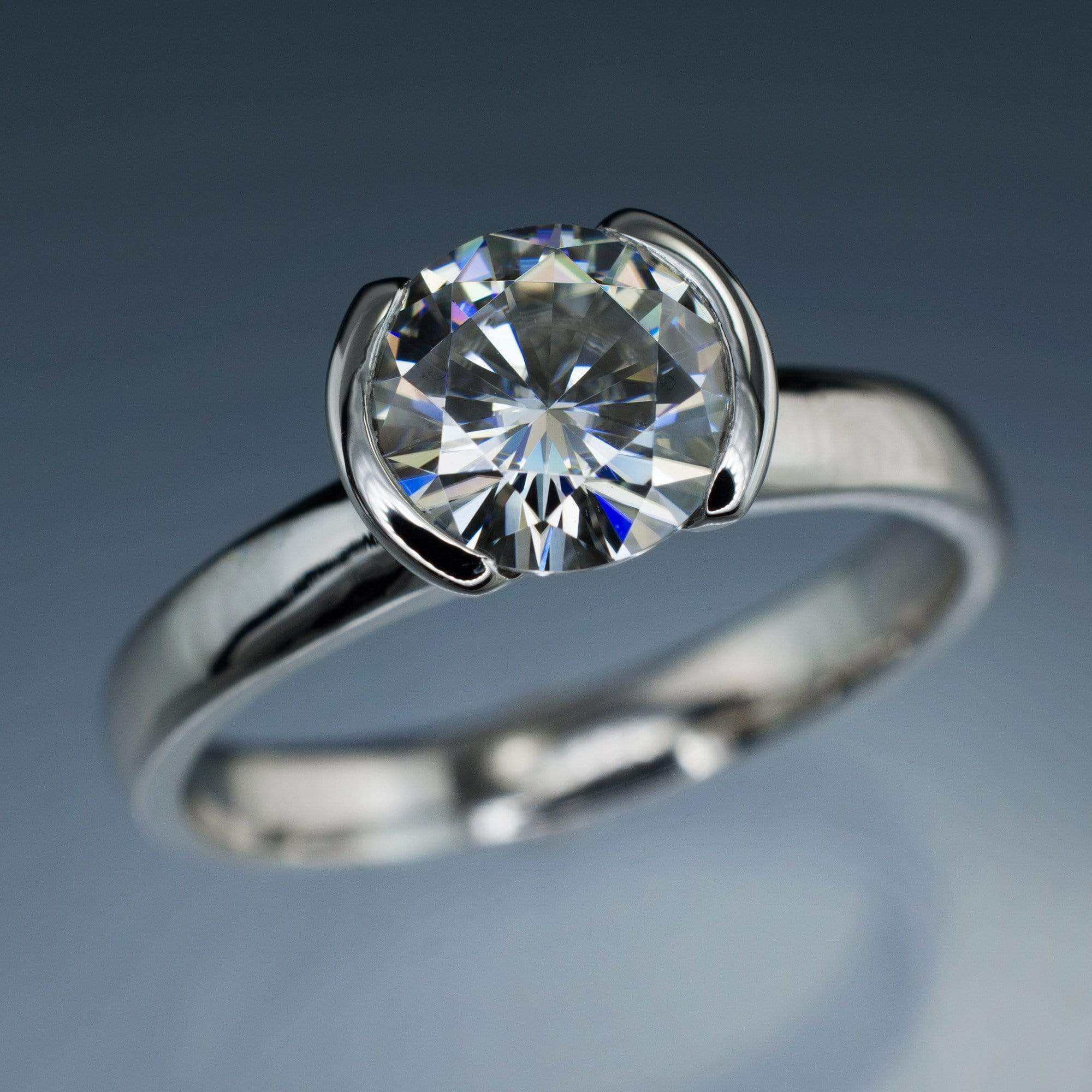 Brilliant Cut Round Moissanite Half Bezel Solitaire Engagement Ring