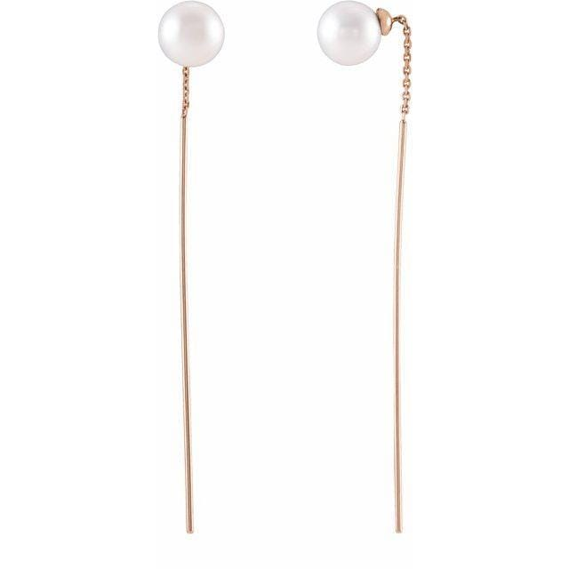 White Freshwater Cultured Pearl Gold Threader Earrings