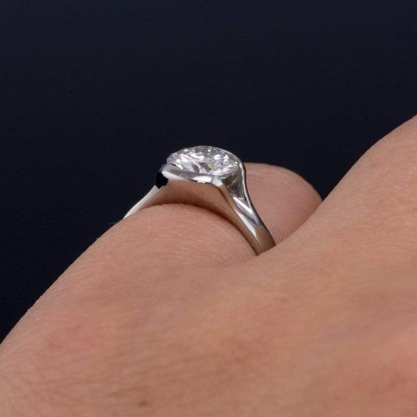 Round Gray Moissanite Fold Semi-Bezel Set Fold Engagement Ring