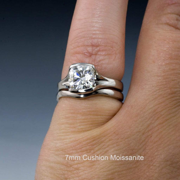 Bridal Set Cushion Cut Moissanite Fold Semi-Bezel Set Solitaire Engagement Ring & Wedding Band