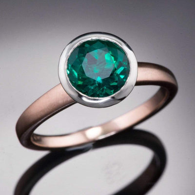 Chatham Emerald Bezel Set Mixed Metal Engagement Ring - by Nodeform