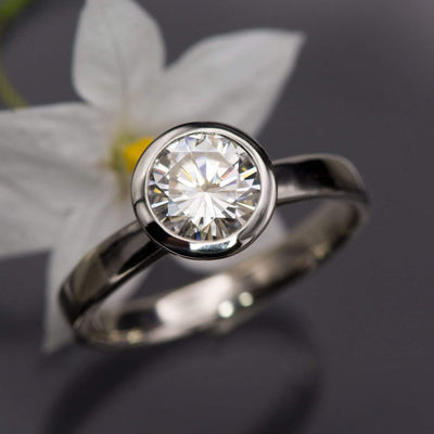 Round Moissanite Full Bezel Solitaire Engagement Ring