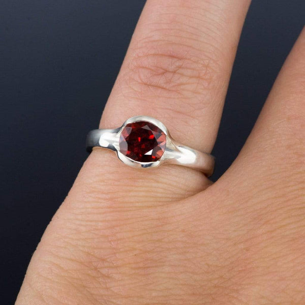 Garnet Fold Solitaire Engagement Ring