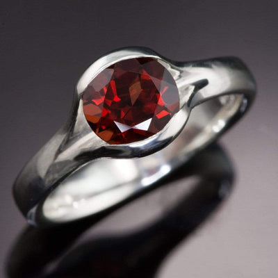 Garnet Fold Solitaire Engagement Ring - by Nodeform