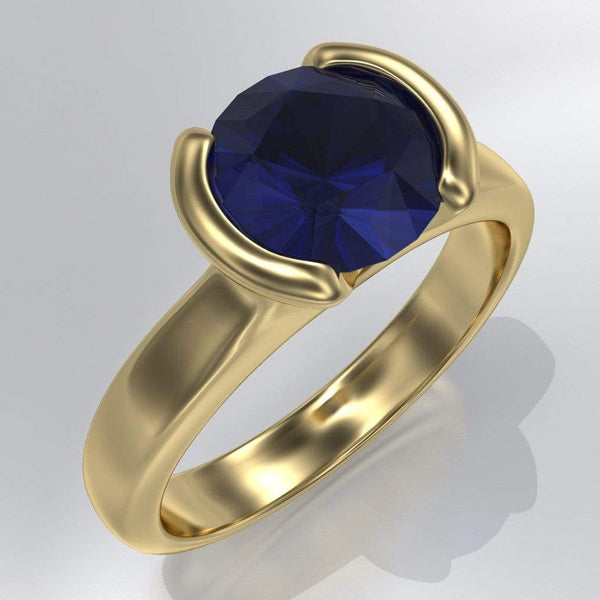 Lab Created Round Blue Sapphire Half Bezel Solitaire Engagement Ring
