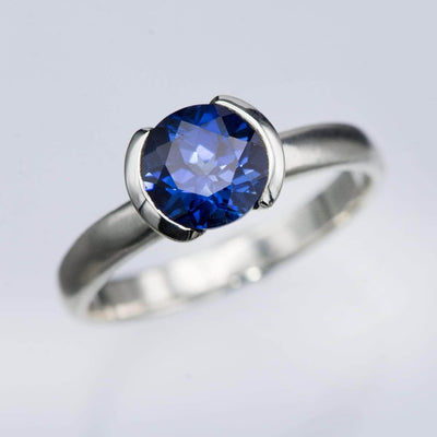 Lab Created Round Blue Sapphire Half Bezel Solitaire Ring in Sterling Silver, Ready to Ship
