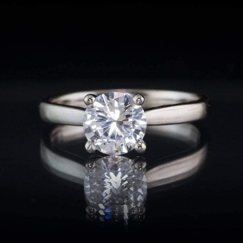 White Sapphire Prong Set Cathedral Style Solitaire Engagement Ring