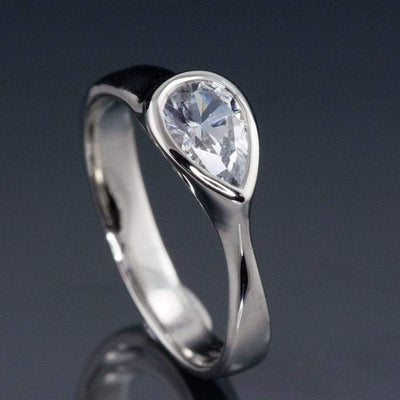 Pear White Sapphire Tear Drop Bezel Solitaire Engagement Ring - by Nodeform