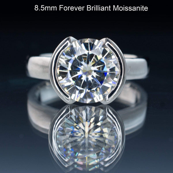 Round Moissanite Half Bezel Solitaire Engagement Ring
