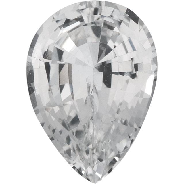 Pear Cut Genuine White Sapphire Gemstone