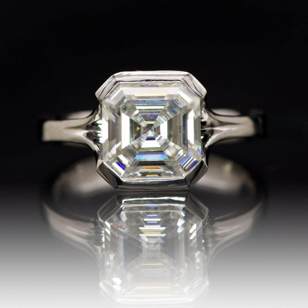 Asscher Cut Moissanite Fold Semi-Bezel Set Solitaire Engagement Ring