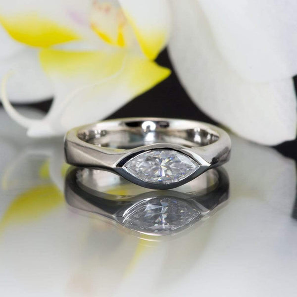 Marquise Supernova Moissanite Bezel Solitaire Palladium Engagement Ring, ready to ship size 4-7