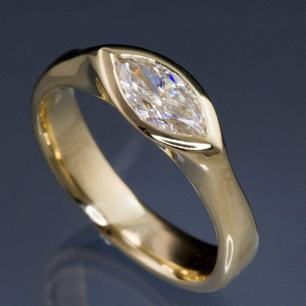 Marquise Moissanite Bezel Solitaire Engagement Ring - by Nodeform