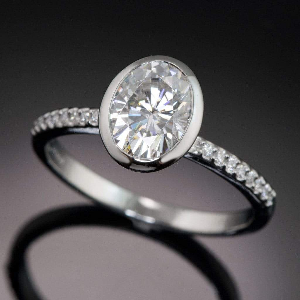 Oval Moissanite Peekaboo Bezel Diamond Pave Engagement Ring