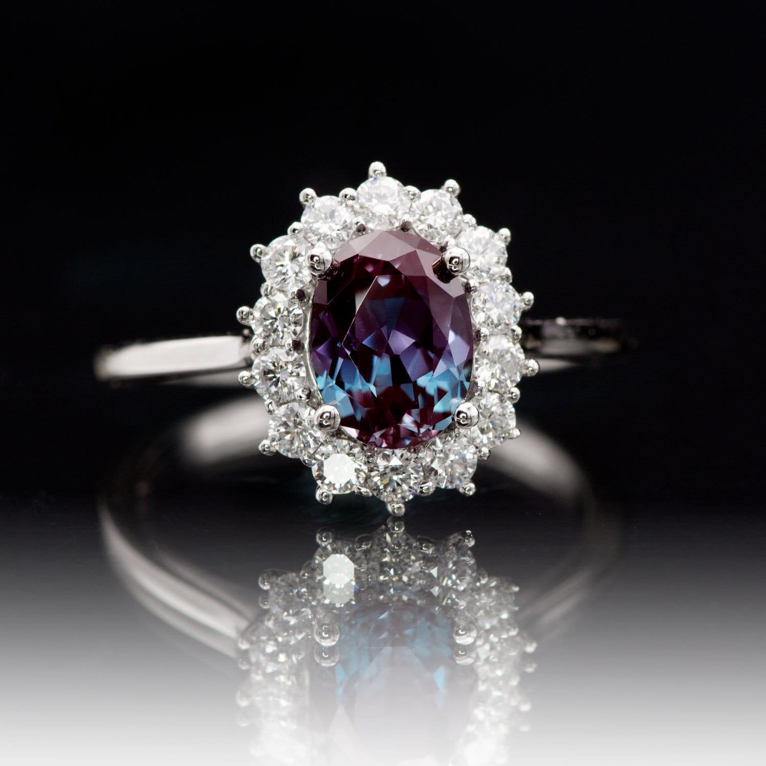 Oval Alexandrite Prong Set Halo Engagement Ring