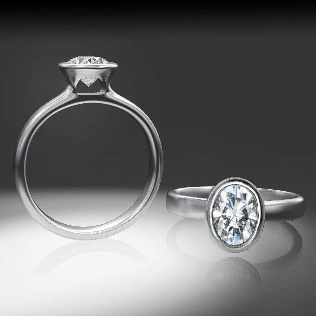 Oval Moissanite Peekaboo Bezel Solitaire Engagement Ring