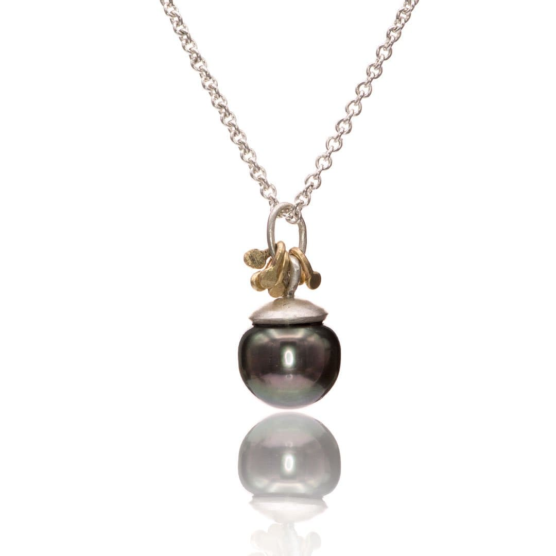 Tahitian Pearl Gold Accented Sterling Silver Pendant Necklace, Ready to Ship
