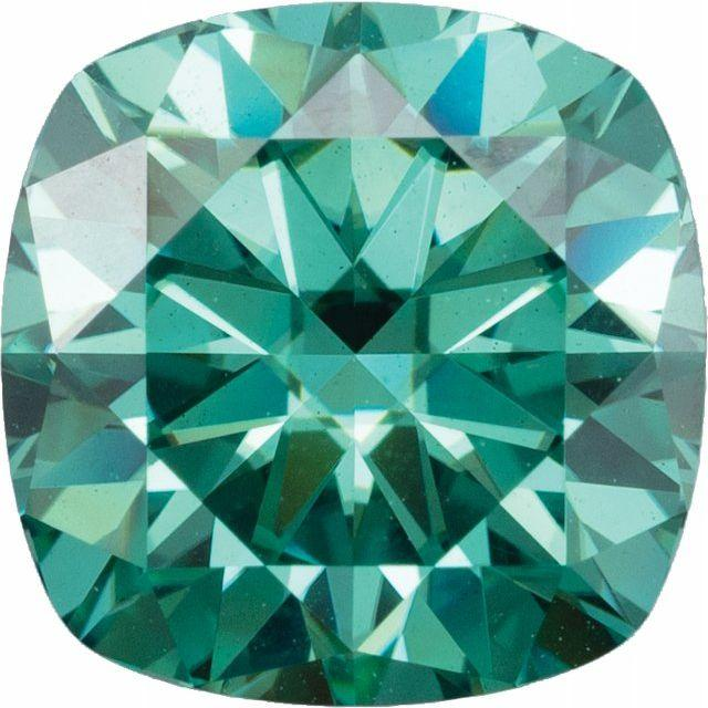 Square Cushion Cut Green Moissanite Loose Stone