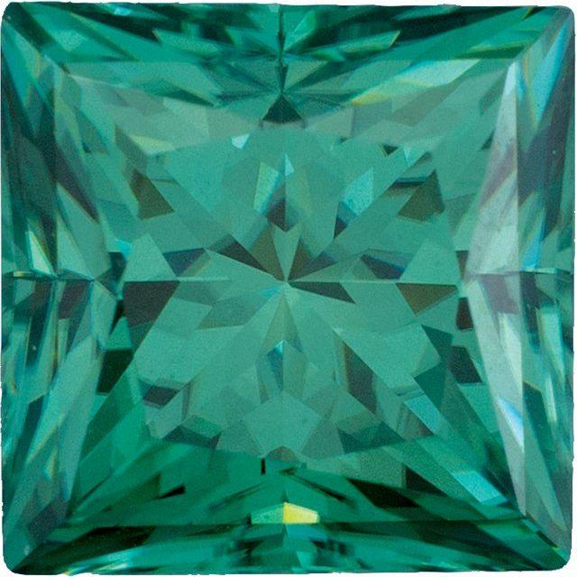 Princess-Cut Square Loose Green Moissanite Stone