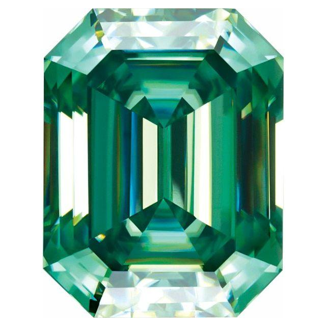 Emerald Cut Green Moissanite Loose Stone