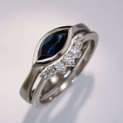 Marquise Blue Sapphire Bezel Solitaire Engagement Ring - by Nodeform